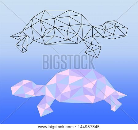 Low poly turtle vector illustration. Two polygonal turtle silhouettes - black outlined polygonal turtle and pink colored polygonal turtle. Square banner template with domestic animal. Pet artwork
