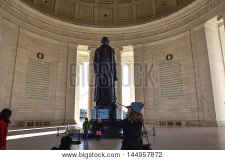 WASHINGTON DC - DECEMBER 19: Internal of Thomas Jefferson Memorial with silhouette of the Statue. Shot at December 19, 2015 in Washington DC, USA.
