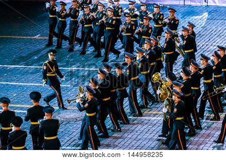 MOSCOW RUSSIA - AUGUST 26 2016: Spasskaya Tower international military music festival. The Band of the Moscow Military Music College from Russia at the Red Square