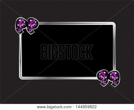 Amethyst Stone Quotes on Silver Metal Speech Bubble over Pinstripe Background