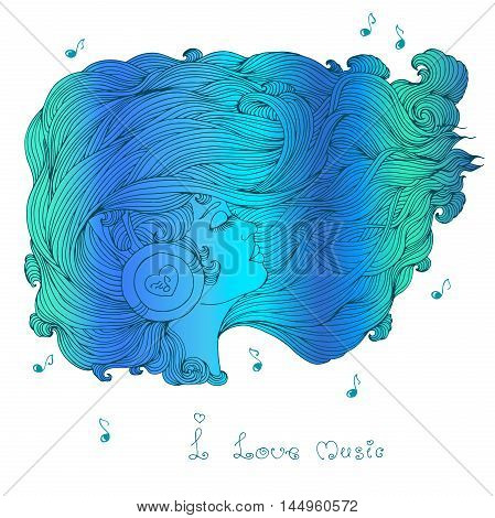 Vector painted multicolored portrait in profile of a girl with long wavy hair. Girl with closed eyes listening to music in headphones. Phrase I love music. Icon of musical notes. On a white background
