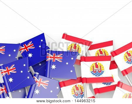Flags Of Australia And French Polynesia Isolated On White