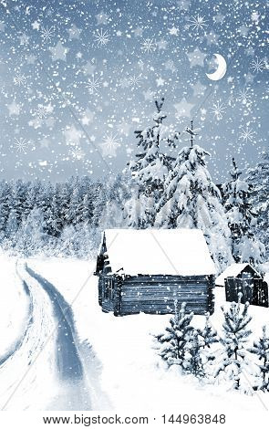 The village in winter forest. home. forest