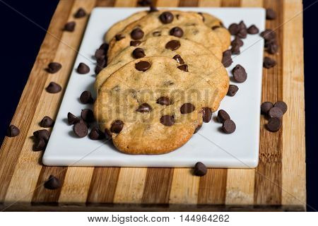 Vegan Chocolate Chips Cookies on a White Plate