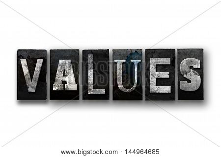 Values Concept Isolated Letterpress Type