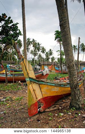 The Bangau Maritime Figureheads. Colorful Pattern Of Traditional Fisherman Boats In Kelantan, Malays