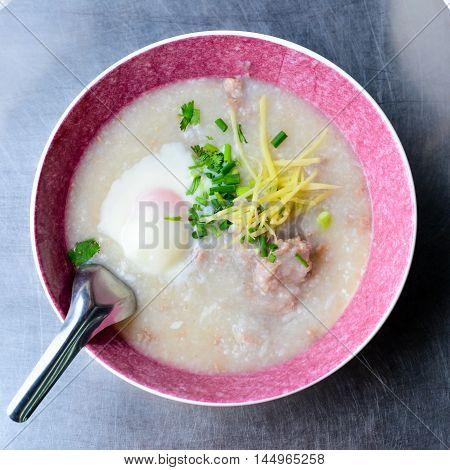 Pork Congee (Mince Joke) for the breakfast meal