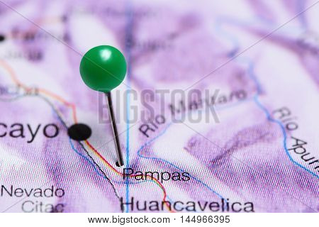 Pampas pinned on a map of Peru