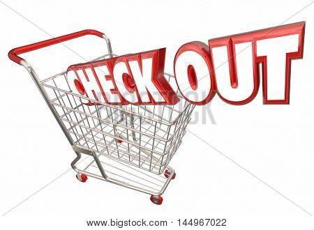 Check Out Shopping Cart Buy Purchase Store 3d Illustration