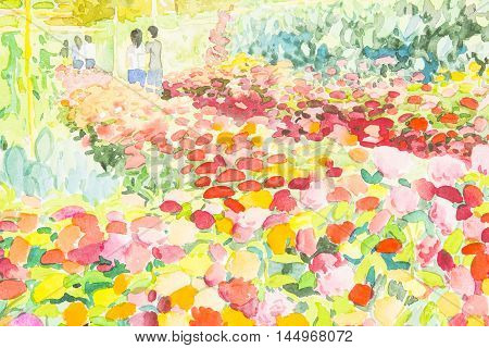 Watercolor landscape painting colorful of flower garden and emotion in original painting
