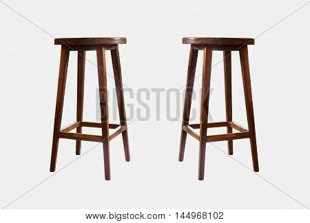 Wooden chairs isolated on white background, stock photo