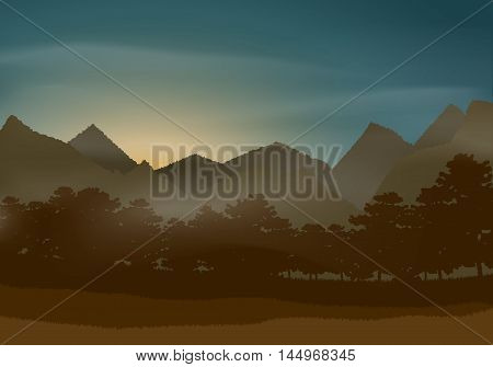 Mysterious beautiful natural landscape. Vector. Template design