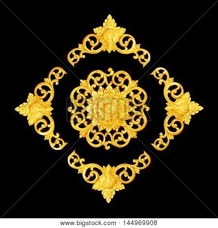 Pattern of flower carved for decoration isolated on black background