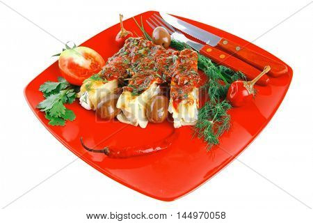 cheese cannelloni served with vegetables on red plate