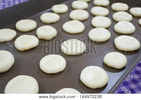 Chinese Pastry Mung Bean Have Purple Tablecloth As Background