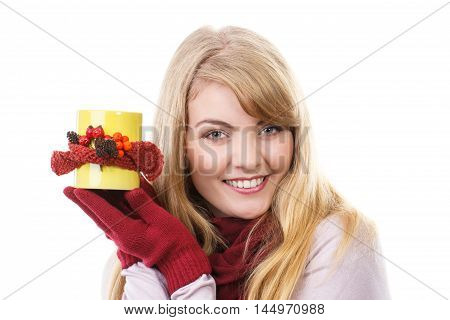 Smiling Girl In Woolen Gloves Holding Decorated Cup Of Tea, Autumn Decoration