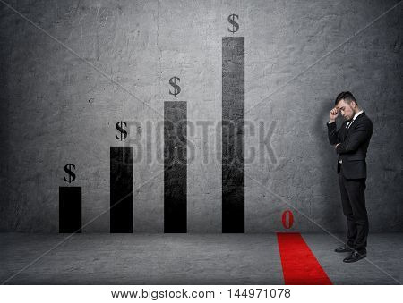 Side view of a businessman with his hand on his forehead looking at fallen bar of the graph. Bankruptcy. Devalued money. Financial crisis. Troubles and bad luck.