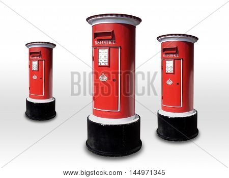 3 letterbox red box isolated on gray background.
