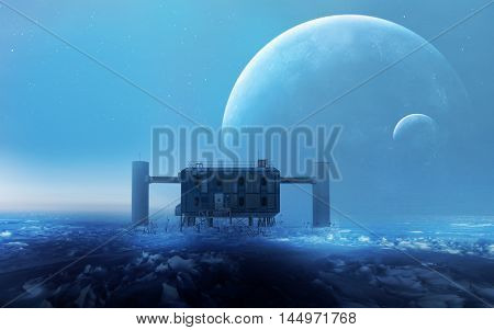 Fantasy Alien Planet with a Space Station in the Background. This image elements furnished by NASA