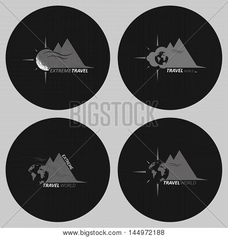 A set of tourist logos. Logo for travel company. Logo in round shape, in shades of gray.