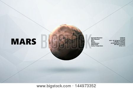 Mars. Minimalistic style set of planets in the solar system. Elements of this image furnished by NASA