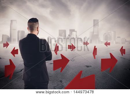 3D Rendering of a man with arrows on asphalt with a cityscape on background