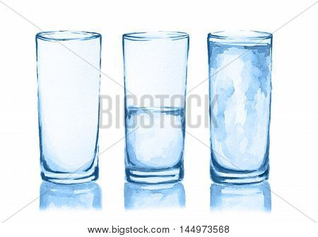 Watercolor glasses set. From empty to full glass. Fresh healthy beverage.