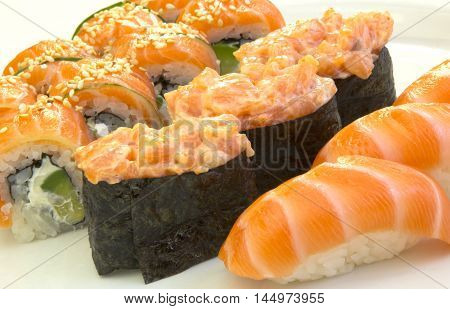 Japanese food; ecological kitchen low-calorie food sushi rolls