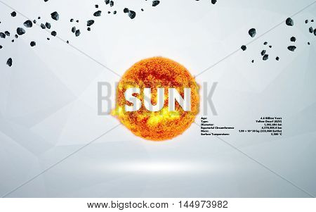 Sun. Minimalistic style set of objects in the solar system. Elements of this image furnished by NASA
