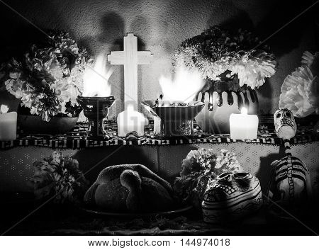 Day Of The Dead Altar With Pan De Muerto And Candles