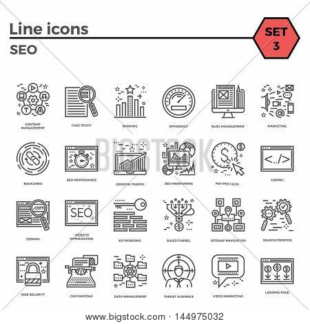 Seo thin line related icons set on white background. Simple mono linear pictogram pack Stroke vector logo concept for web graphics.