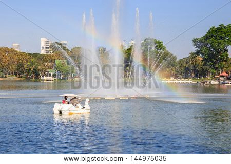 Lake view of Lumpini Park in the Thai capital city centre
