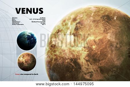 Venus. Minimalistic style set of planets in the solar system. Elements of this image furnished by NASA