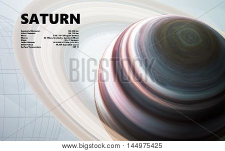 Saturn. Minimalistic style set of planets in the solar system. Elements of this image furnished by NASA