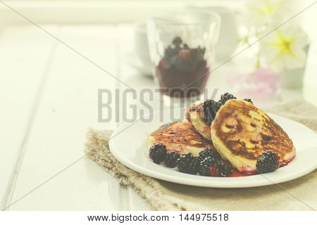 Cottage cheese pancakes, traditional Ukrainian and Russian cuisine.toned image,selective focus