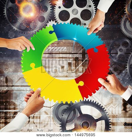 Business people join the colorful puzzle pieces of a gear. Concept of teamwork and integration. 3D Rendering