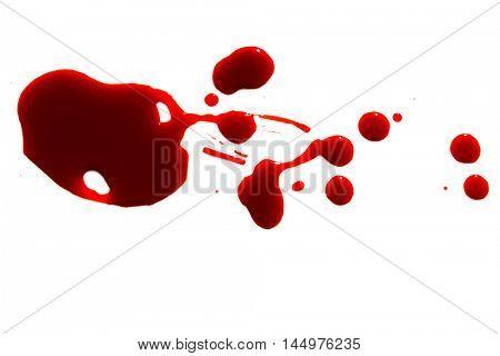 Halloween concept : Blood splatter on white background