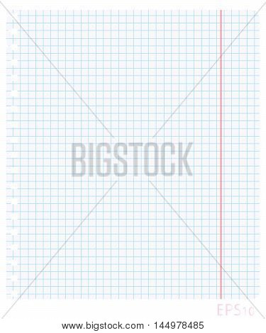 Vector illustration of a blank sheet of paper in the box with the red fields and jagged holes torn from a school notebook