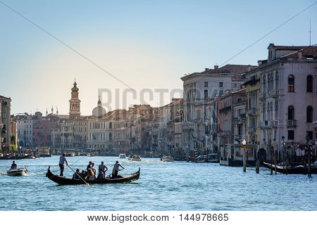Venice Italy - August 13 2016: Venice Italy. Grand canal with boats and gondolas
