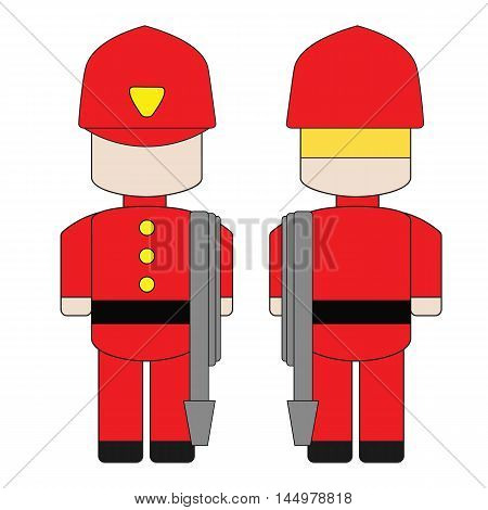 Cute simple cartoon of a fireman with a hose. The front and the back.