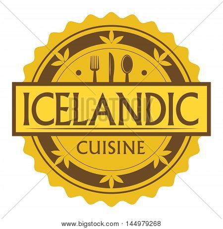 Abstract stamp or label with the text Icelandic Cuisine written inside, traditional vintage food label, with spoon, fork, knife symbols, vector illustration