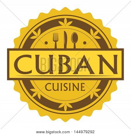 Abstract stamp or label with the text Cuban Cuisine written inside, traditional vintage food label, with spoon, fork, knife symbols, vector illustration
