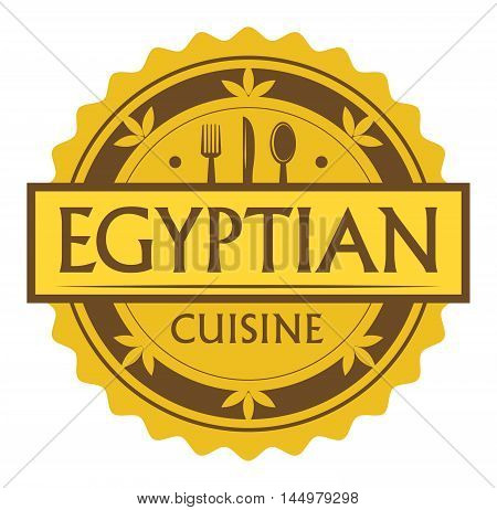 Abstract stamp or label with the text Egyptian Cuisine written inside, traditional vintage food label, with spoon, fork, knife symbols, vector illustration