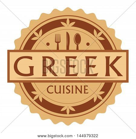 Abstract stamp or label with the text Greek Cuisine written inside, traditional vintage food label, with spoon, fork, knife symbols, vector illustration