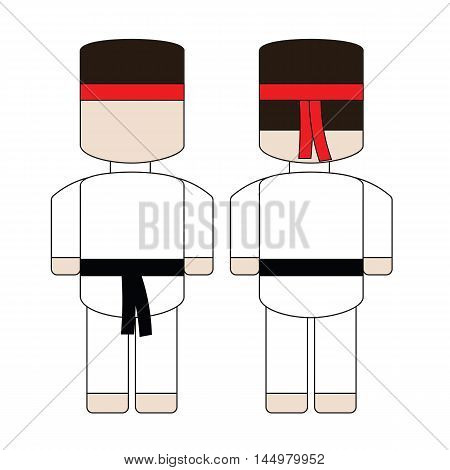 Cute simple cartoon karate with a black belt. The front and the back.