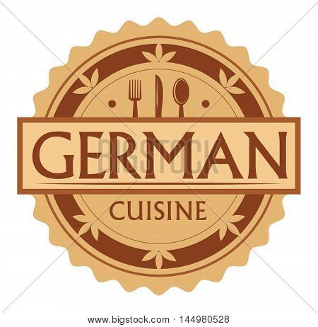 Abstract stamp or label with the text German Cuisine written inside, traditional vintage food label, with spoon, fork, knife symbols, vector illustration