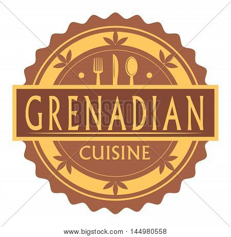 Abstract stamp or label with the text Grenadian Cuisine written inside, traditional vintage food label, with spoon, fork, knife symbols, vector illustration