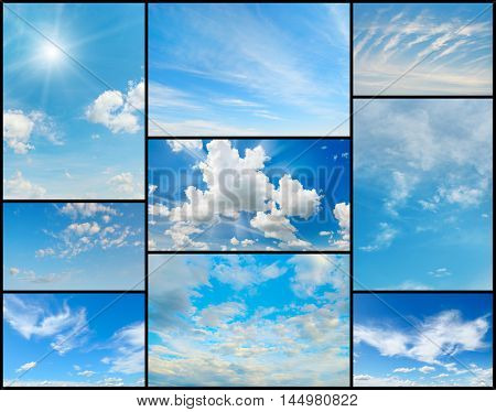 Beautiful collection of clouds in the blue sky. Elements for design.