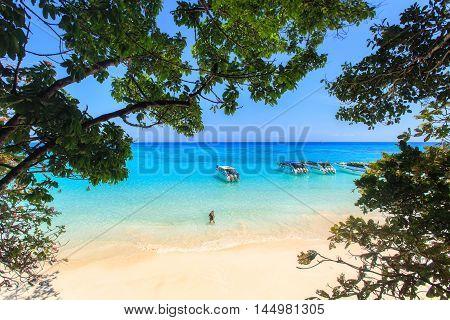 Tropical beach beautiful sea and blue sky at Similan island Andaman sea Thailand