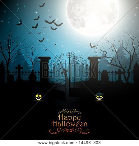 Illustration of Halloween background with spooky graveyard